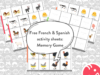 Free French & Spanish Worksheets for Kids: Memory Game