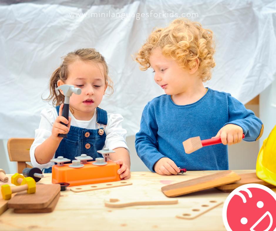 Children learning woodwork skills